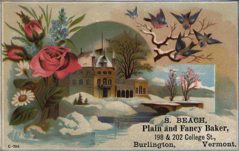 S. Beach Advertising Card, Burlington, Vermont, c. 1900, Llewellyn Collection of Vermont History, 2010.1.677