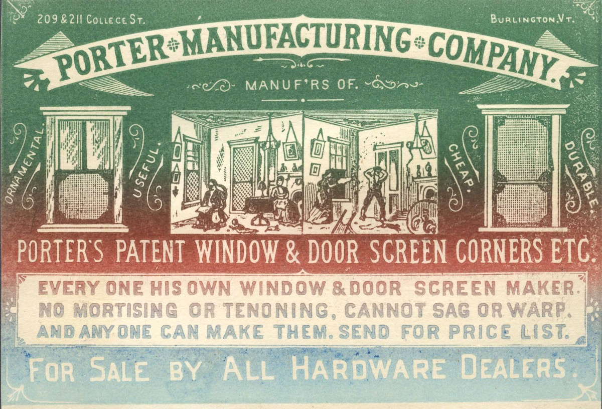 Porter Manufacturing Company Advertising Card, Burlington, Vermont, c. 1870-1890, Local History Collection, 2016.1.1
