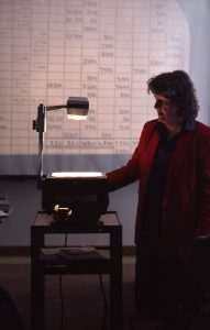 Edith Templin Teaching Accounting 1987, Champlain College Archives, Series 10, Box 10, Folder 14